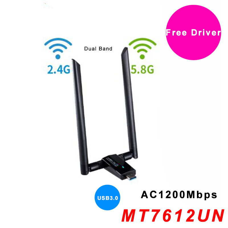 USB WiFi Antenna Adapter Free Driver AC1200Mbps Wireless Wifi Adapter USB3.0 Network Card IEEE 802.11AC 2.4G 5.8G MT7612U