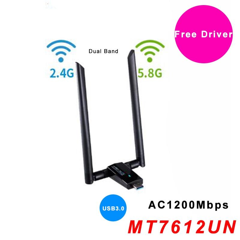 USB WiFi Antenna Adapter Free Driver AC1200Mbps Wireless Wifi Adapter USB3.0 Network Card IEEE 802.11AC 2.4G 5.8G MT7612U