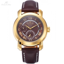 Imperial KS Auto Mechanical Wrist Golden Sub Second Dial Date Brown Leather Jewelry Timepiece Mens Fashion Watch Gift /KS278