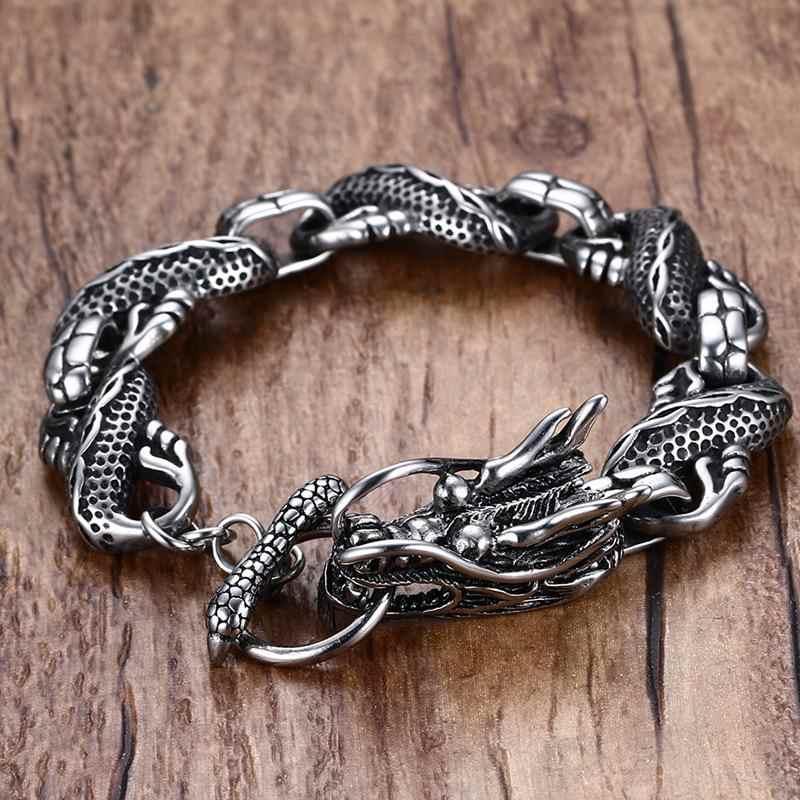 Mężczyzna smoka tematyczne Link bransoletka z przełącz zapięcie srebrny kolor mężczyźni Punk bileklik ze stali nierdzewnej biżuteria pulseira masculina