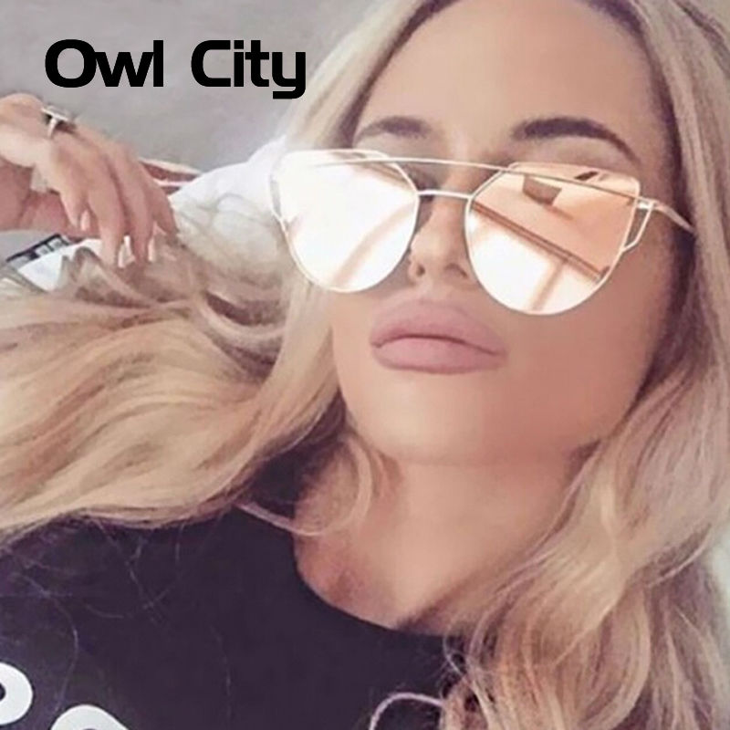 Città gufo Cat eye Donne Occhiali Da Sole Brand Design Specchio Piatto Rose Gold Vintage Cateye Moda occhiali da sole lady Eyewear UV400