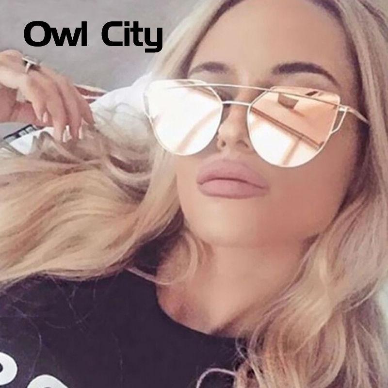 Owl City Cat eye Women Sunglasses Brand Design Mirror Flat Rose Gold Vintage Cateye Fashion sun glasses lady Eyewear UV400