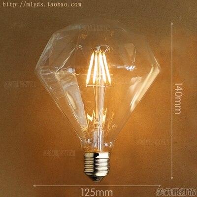 4 Вт E27 220 В светодиодный светильник для декора, лампада Эдисона, винтажный декоративный светильник с ампулами T10 G80 G95 ST64 T225 T30 - Цвет: Светло-желтый