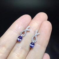 Small and exquisite, natural tanzanite earrings, 925 silver style, cheap, natural gem store