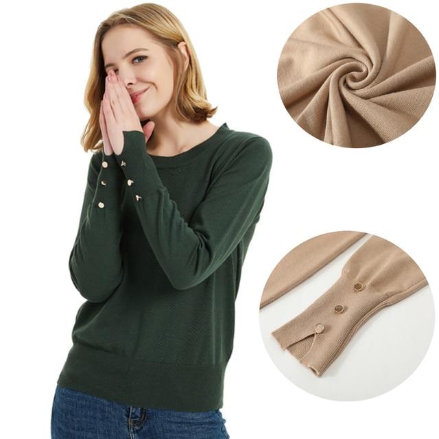 נשים בסיסי סוודר עם כפתורים ארוך שרוול מצולעים לקצץ O-צוואר בסוודרים אישה חולצות לסרוג סוודרים נשים בגדים