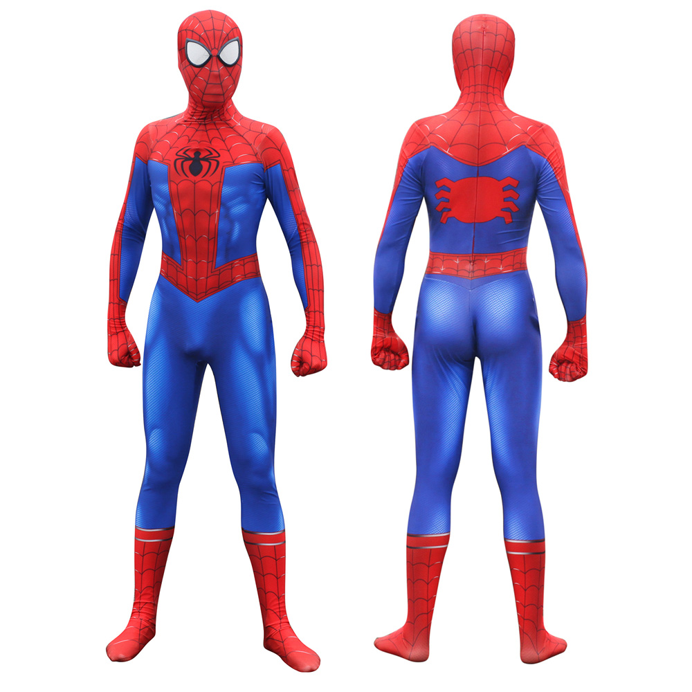 Adult Men Boys Spider-Man Into the Spider-Verse Peter Parker Cosplay Costume Spiderman Bodysuit