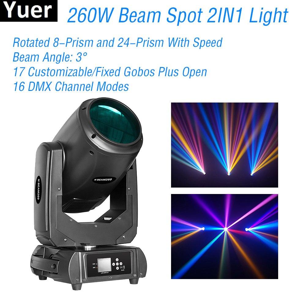 Nouvelle Lyre faisceau Spot 2IN1 lumière principale mobile 260W 9R éclairage de scène DMX512 faisceau 9R DJ Disco lumière partie couleur musique Club Bar lumières