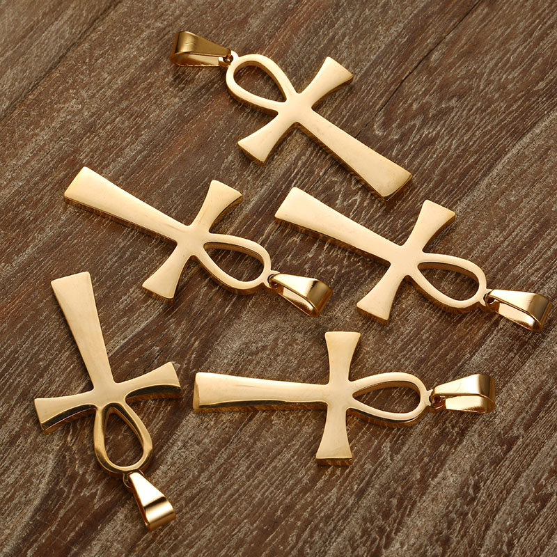 100PCS 25mm 40mm Rose Gold Silver 4 Color Egyptian Ankh Stainless Steel Charms For Jewelry DIY