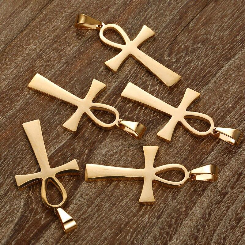 100 sztuk 25mm * 40mm różowe złoto srebro 4 kolor egipski Ankh Charms ze stali nierdzewnej dla biżuteria DIY dzięki czemu Ankh wisiorki akcesoria w Celebrytki od Biżuteria i akcesoria na  Grupa 1
