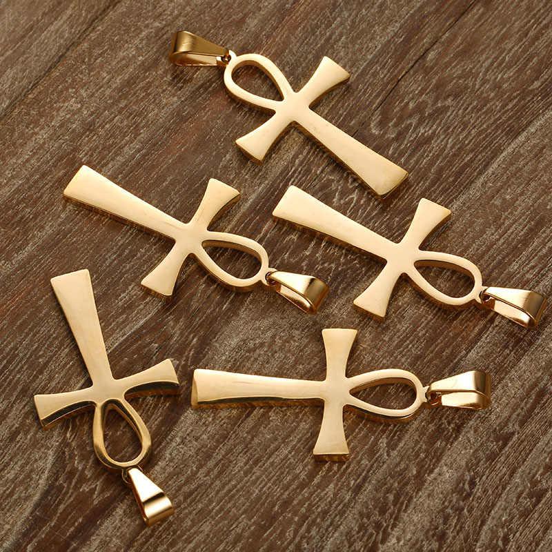 100PCS 25mm * 40mm רוז זהב כסף 4 צבע מצרי אנק קסמי נירוסטה עבור תכשיטי DIY ביצוע אנק תליוני אבזרים