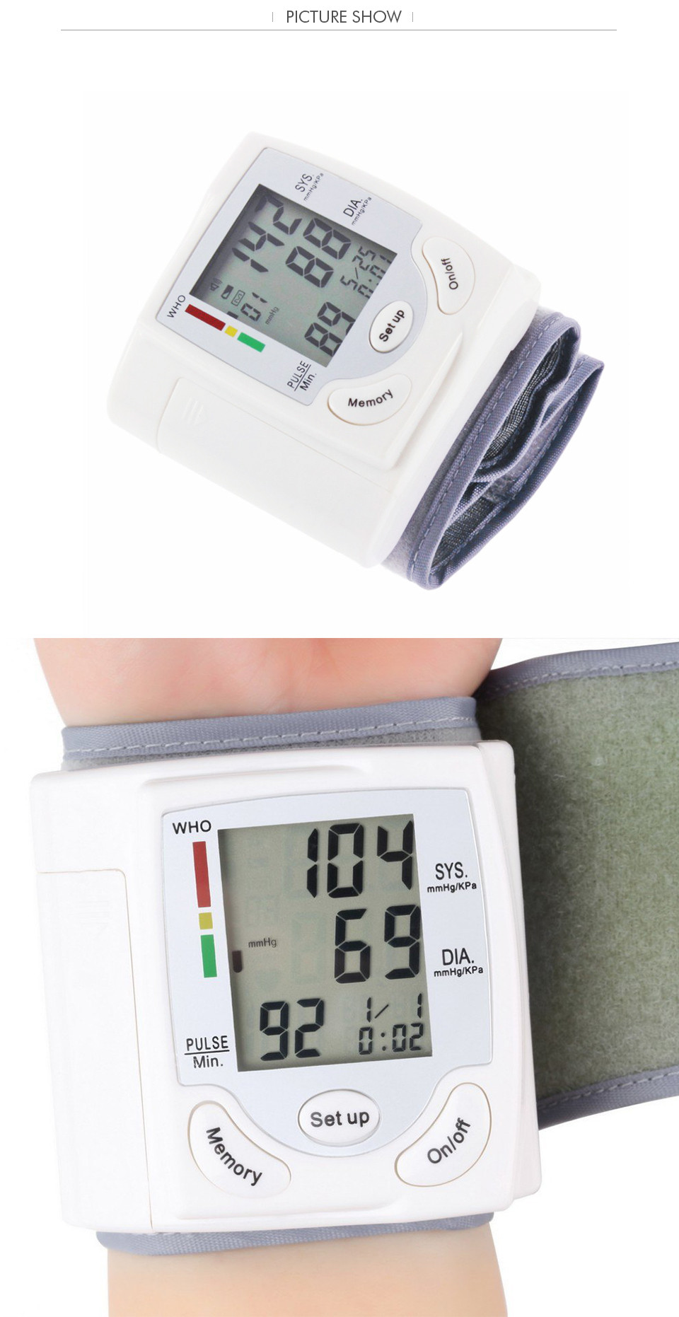 Professional Health Care Wrist Portable Digital Automatic Blood Pressure Monitor Household Type Protect Health2 17