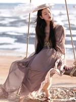 Линетт's CHINOISERIE Лето оригинальный дизайн для женщин Высокое качество шелк Европа Винтаж Стиль струящийся шелк макси платья