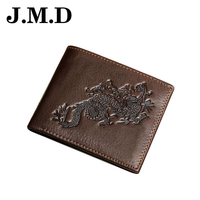 JMD 2017 Hot Sale Genuine Leather Men Short Wallets Vintage Dragon Print Card Holder Cion Purse High Quality Male Clutch JD075 dragon card 1l