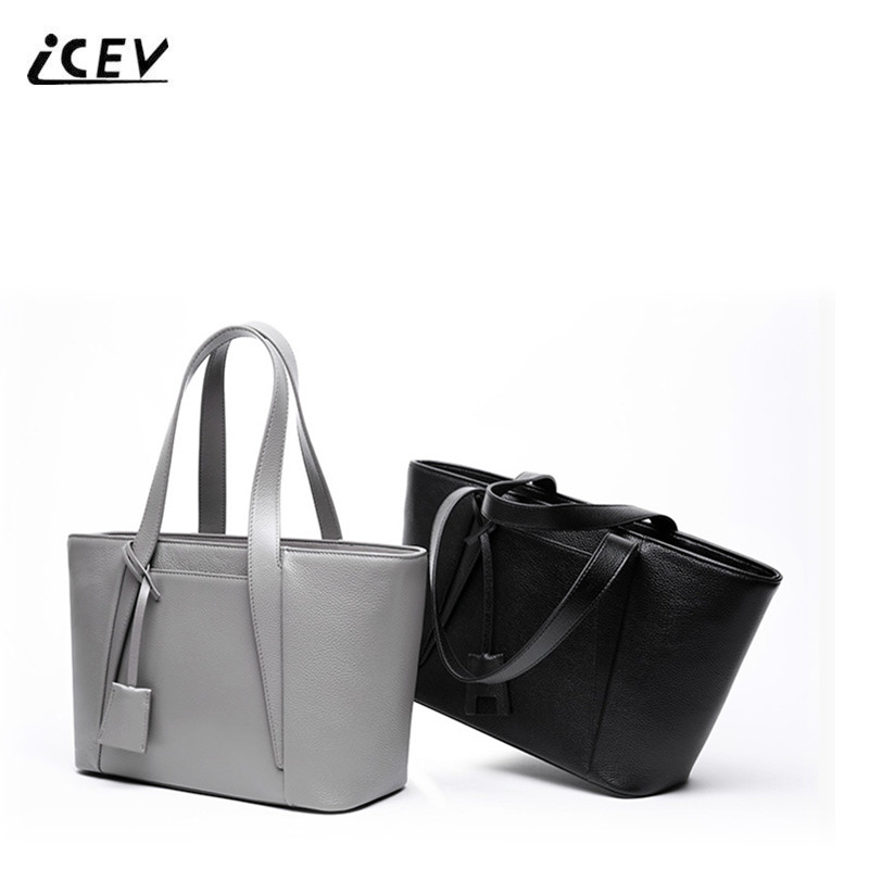 ICEV New Simple Genuine Leather Handbags OL Women Leather Handbags Fashion Ladies Shoulder High Quality Cowhide Bags Totes Sac icev new brands simple classic female cow leather designer handbags high quality genuine leather handbags women leather handbags