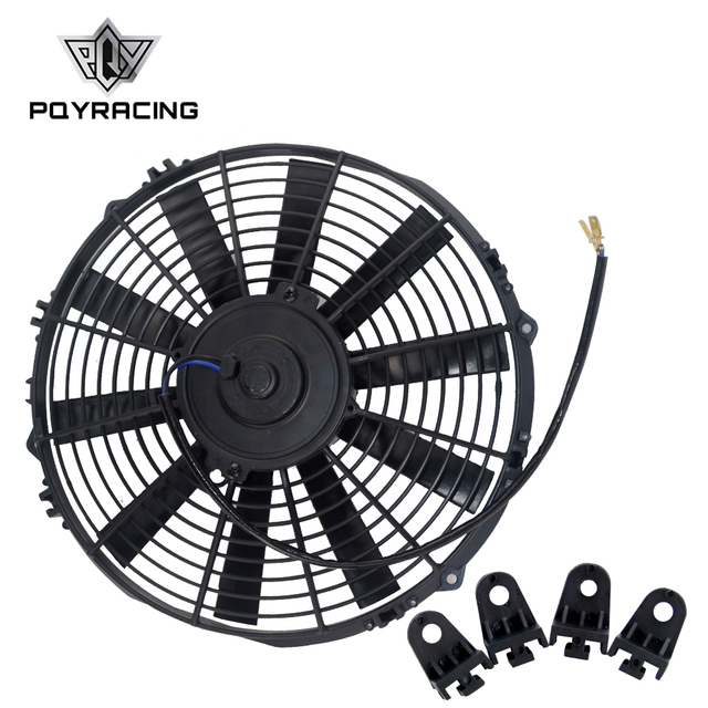 "PQY - 13"" Universal 12V 90W Slim Reversible Electric Cooling Thermo Radiator AUTO FAN Push Pull With mounting kit 13 Inch FANI13"