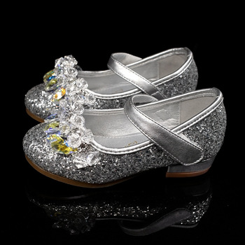 Girls Leather Shoes For Kids Rhinestone Low Heel Princess Shoes Girls Sandals Autumn Spring Rubber Party For Children