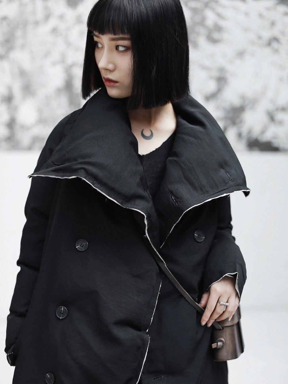 De Mode Hiver Large Nouveau Femmes taille Cakucool Boutonnage Longue Colar Parkas Solide Pleine Manches Double Asymétrique Noir 2018 AOqWnqwx6