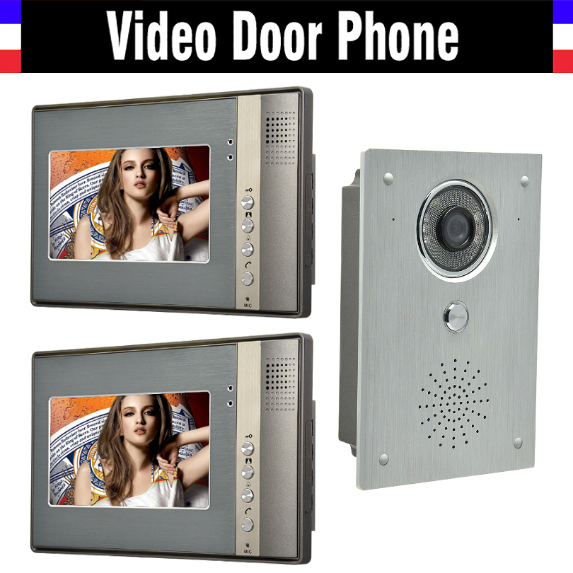 7 monitor video intercom video door phone system video interphone doorbell kit IR Night Vision aluminium alloy Camera 2-Monitor