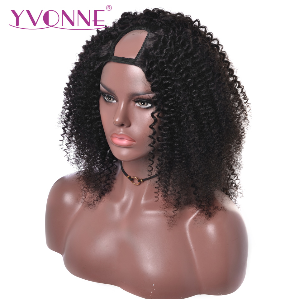 Wig Human-Hair-Wigs Virgin-Hair Kinky-Curly-U-Part YVONNE 100%Brazilian Natural-Color