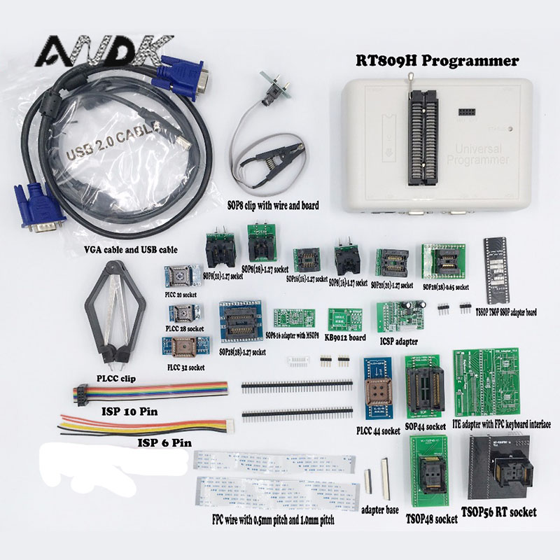 Universal RT809H EMMC-Nand FLASH Programmer + 24 ADAPTERS WITH CABELS EMMC-Nand better than RT809F/TL866CS/TL866A Free DHL newest v6 1 tl866cs programmer 21 adapters ic clip high speed tl866 avr pic bios 51 mcu flash eprom programmer