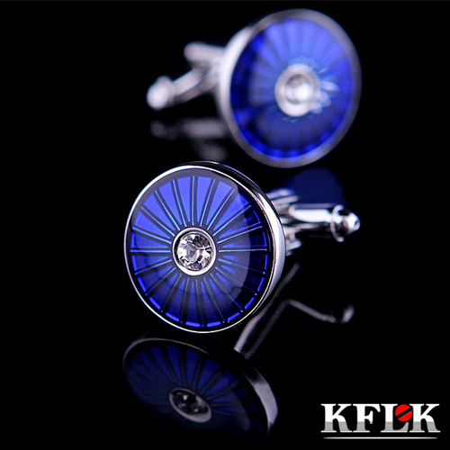 2 Color KFLK 2018 Luxury shirt cufflink for mens gift Brand cuff button Crystal cuff link Blue High Quality abotoadura Jewelry