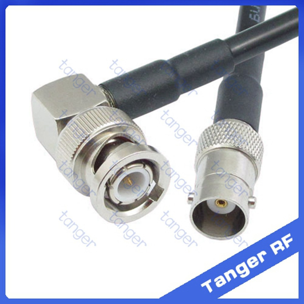 Hot Sale BNC male plug right angle 90degree to BNC female jack RF RG58 Pigtail Jumper Coaxial Cable 20inch 50cm High Quality New 4pcs gold plated right angle rca adaptor male to female plug connector 90 degree