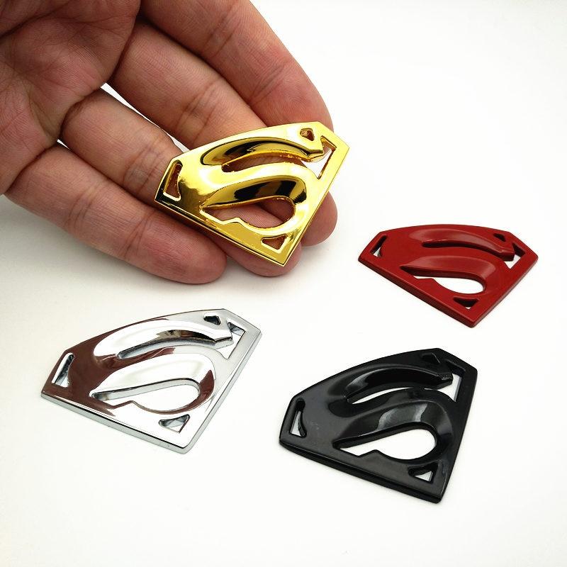 FDIK Metal 3D 3M Chrome Superman Auto Logo Badge Metal Superman Car Sticker Emblem Car Styling Accessories Motorcycle