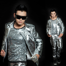 2017 new fashion men's rivet silver motorcycle leather jacket male singer DJ stage performance show costumes coat rivets pants