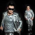 2017 novos homens da moda prata rebite motocicleta jaqueta de couro masculino desempenho cantor dj stage show trajes rebites casaco calças
