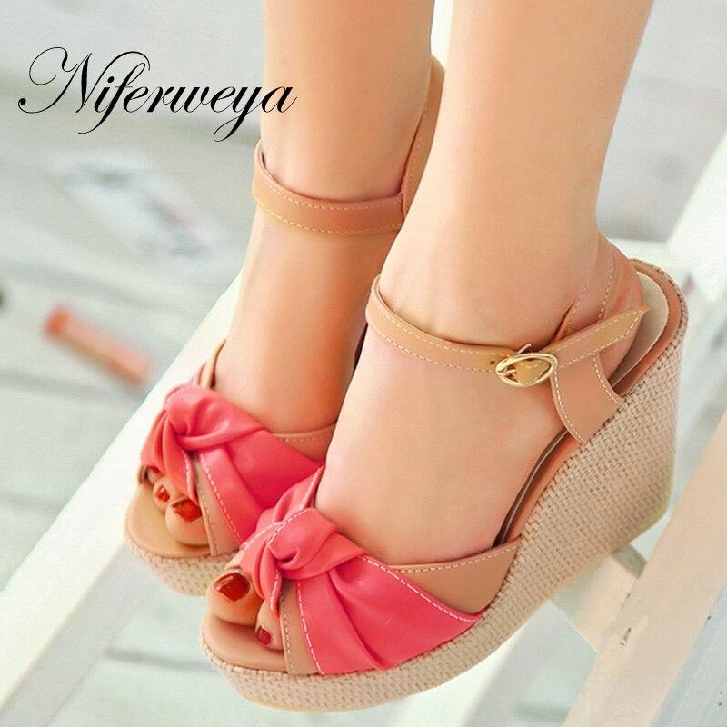 ФОТО 2017 New summer women shoes fashion Peep Toe High heels bowknot decoration Wedges sandals Size 32-43 small size 31 32 CHD-D33