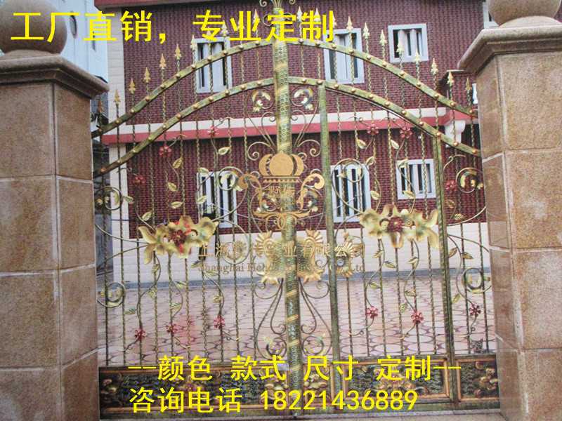 Custom Made Wrought Iron Gates Designs Whole Sale Wrought Iron Gates Metal Gates Steel Gates Hc-g27