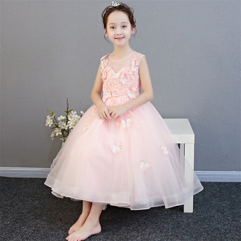 2018New Fashion Sleeveless Flowers Girls Dresses For Wedding Girl Children Formal Birthday Party Pink Dress Ball Gown Kid Dress fashion 5 16 years girls princess dress sleeveless flowers children bridesmaid birthday wedding party girl long dresses