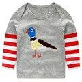 Chegada nova T-shirt Dos Meninos Crianças roupas de Bebê da marca Menino Crianças t-shirt de Manga Comprida 100% Algodão listrado natal