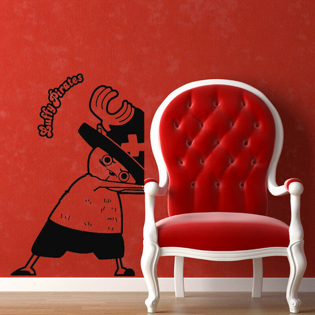Cartoon Vinyl Wall Decals One Piece Cartoon Character Design Sticker Home Decor  HZW17