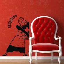 Desenhos animados decalques de parede de vinil uma peça desenho do personagem dos desenhos animados adesivo decoração para casa hzw17