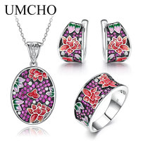 UMCHO ladies silver jewelry set earrings ring necklace white CZ handmade plant flowers pure 925 sterling silver exquisite fashi