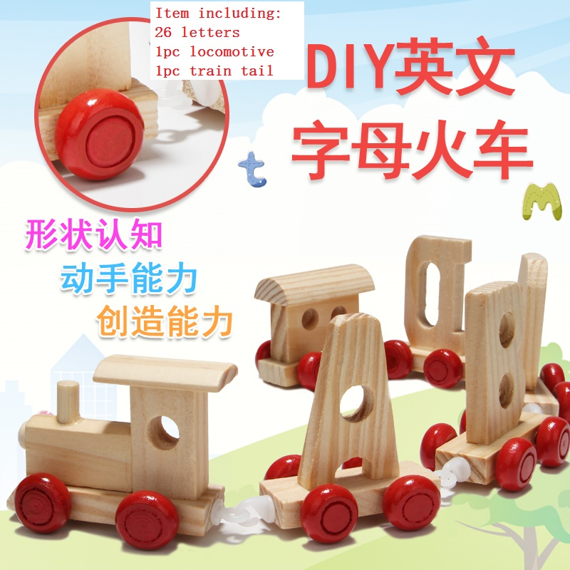 Candice guo wooden toy wood block funny game colorful 26 letter car DIY train play house connect choochoo baby birthday gift set candice guo wooden toy wood shape color block sun moon diy hand work match building pillar game birthday christmas present gift