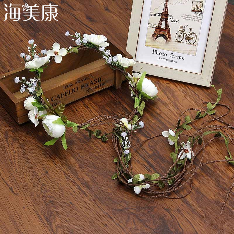 Haimeikang Bohemian Wreath Hair Band Flower Crown Women Rattan Simulation Flower Headband Wrist   Headwear   Hair Accessories