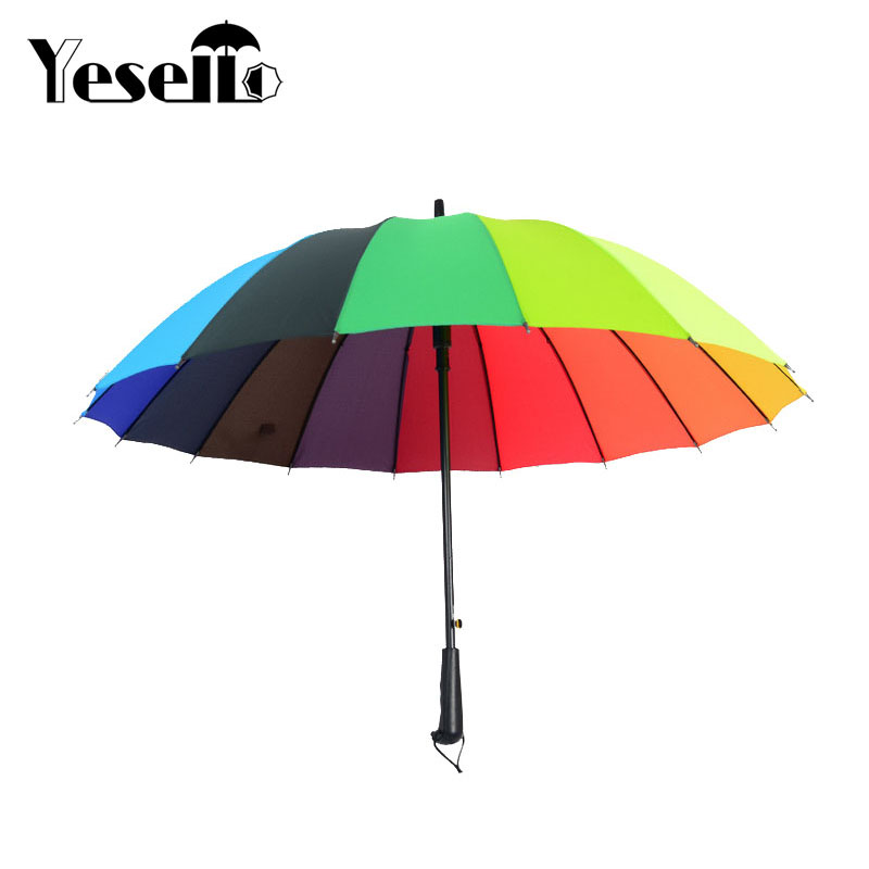 Yesello Winddicht Regenbogen Große Regenschirm Damen automatische Sonne Lange-griff Sonnenschirm