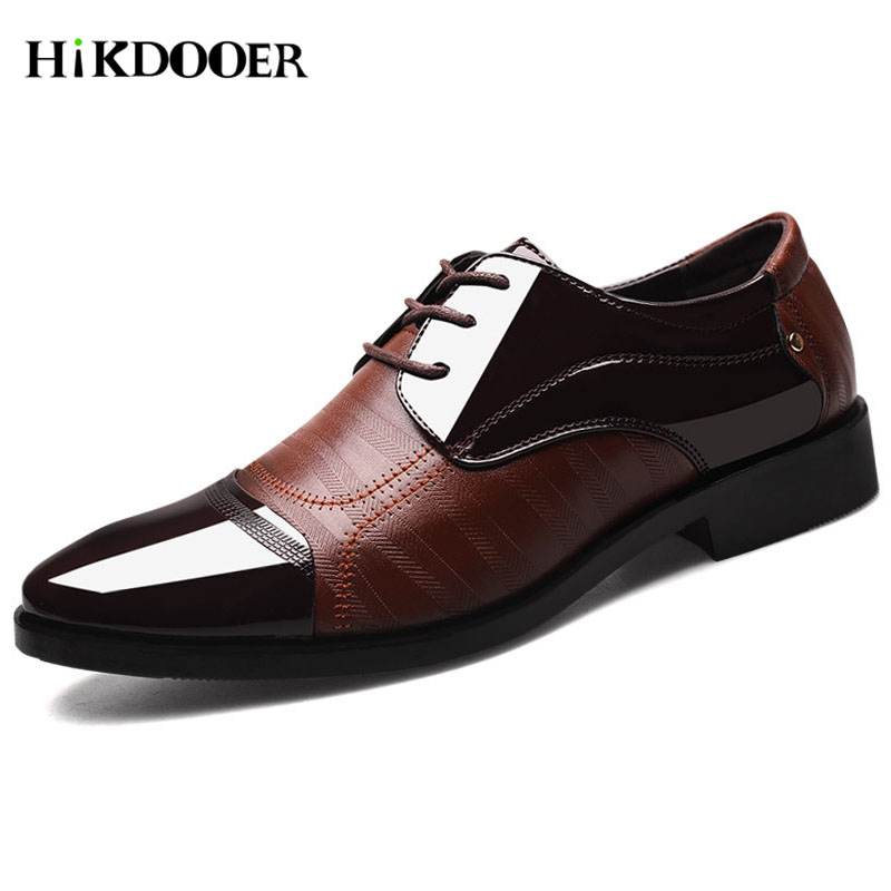 New Arrival Men Formal Shoes Pointed Toe Business Wedding Shoes Lace-up Flat footwear Top Quality Men Dress Shoes