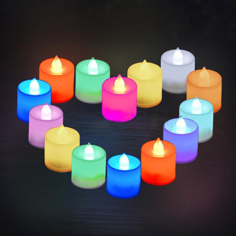 7 Color Led Flameless Tea Candles Light LED Tealight Night light for Wedding Birthday Party Christmas Safety Home Decoration P25