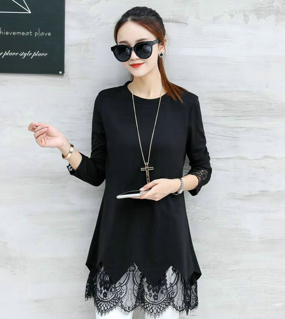 Tunic Plus Size 2018 Spring Autumn Fashion New Womens Long Sleeve Blouse Shirt Black Lace Long Tunic Tops for Women 040208
