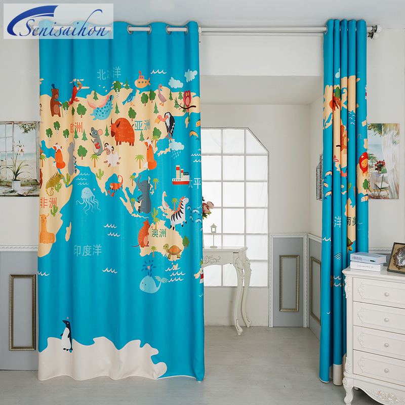 Senisaihon europe 3d blackout curtains blue world map pattern senisaihon europe 3d blackout curtains blue world map pattern thickened velvet fabric children bedroom curtains for living room in curtains from home gumiabroncs Images