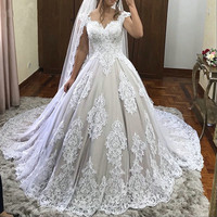 luxury Lace Plus Size Vintage Ball Gown Wedding Dresses Sweetheart Off Shoulder Sexy Appliques Wedding gown 2019 Bridal Dress