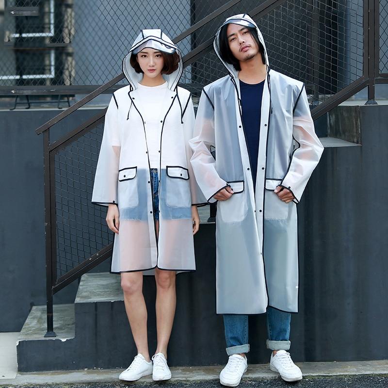 Couple Transparent Raincoat EVA Lovers Rainwear Fashion Rain Coat Women Adult Hiking Rain Poncho Men For Climbing Fishing