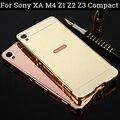 Case para sony xperia z3 compact caso casos de sony xperia z1 compact Z2 Z4 Z5 Quadro + Espelho Acrílico de Volta Caso de Alumínio Para M4 XA