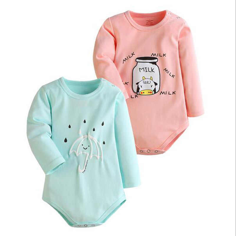 2 pcs Baby Bodies Cartoon Print Bodysuits Long Sleeve Jumpsuits Baby Girl Clothing be Baby Boy Bodysuit Lovely Baby-clothes