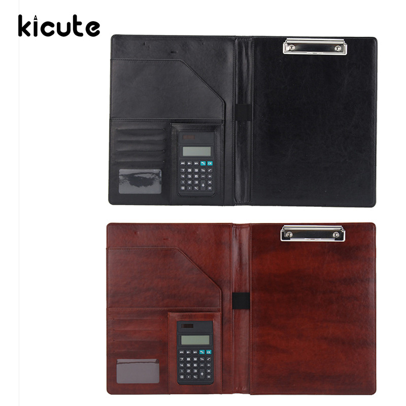 Kicute New PU Leather Business A4 Portfolio Folder Document Organizer Conference With Calculator Document Holder Office Supply ruize multifunction pu leather folder organizer padfolio soft cover a4 big file folder contract clamp with notepad office supply
