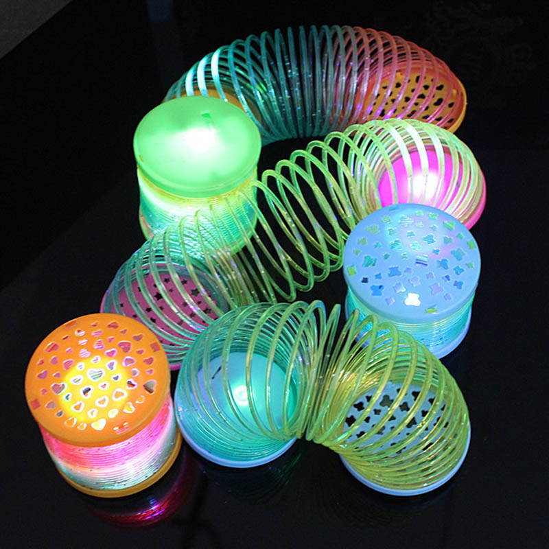 Kids Children Glowing Rainbow Magic Circle Toys Colorful Stretch Spiral Tension Spring For Party Evening Light In Dark