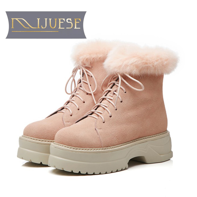 MLJUESE 2019 women snow boots Cow Suede+Rabbit hair Rome style lace up winter warm plush platform boots women  boots MLJUESE 2019 women snow boots Cow Suede+Rabbit hair Rome style lace up winter warm plush platform boots women  boots